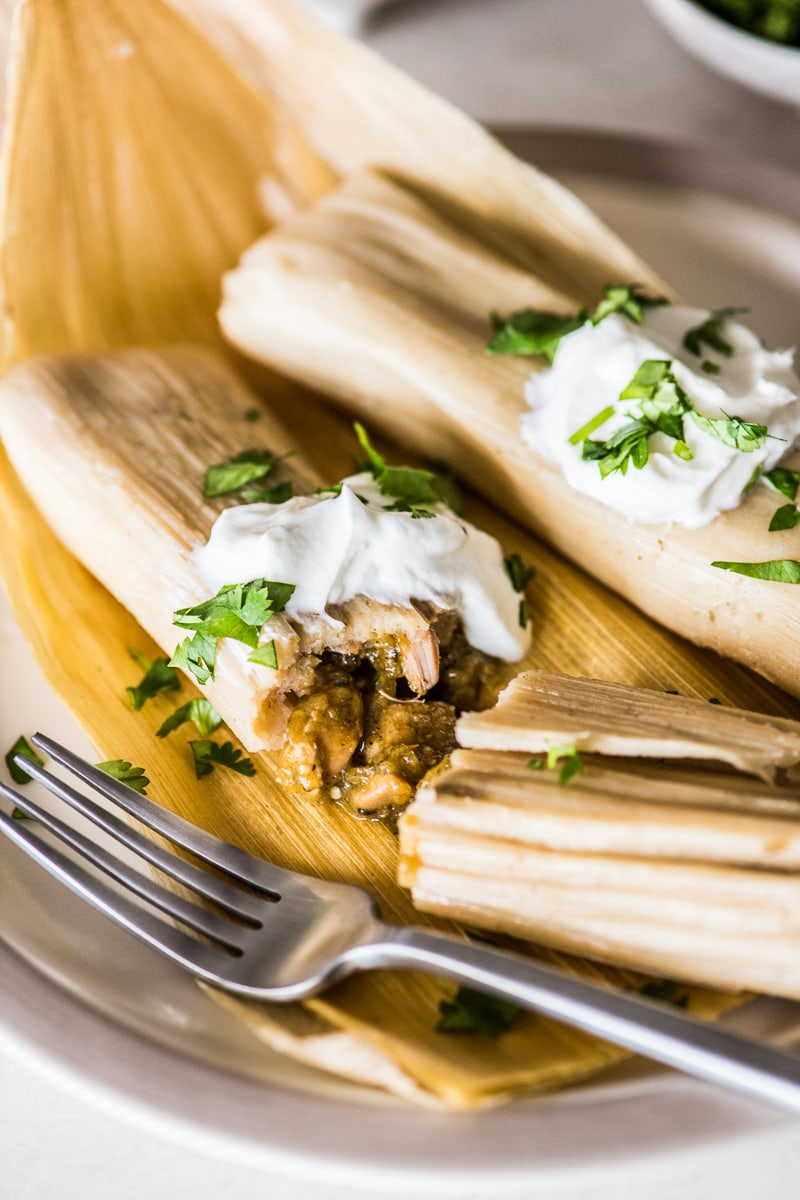 Chicken tamales with green chile filling