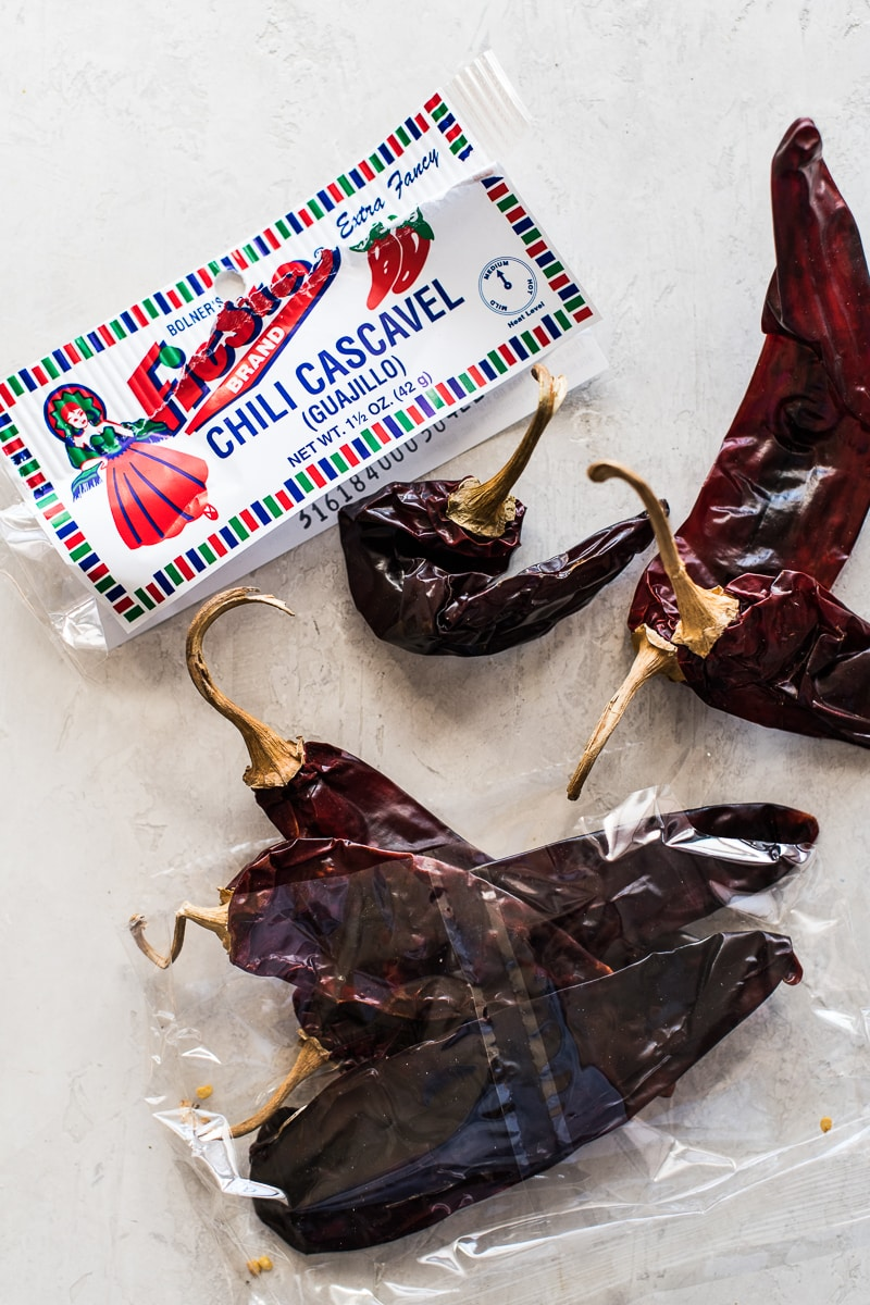 Guajillo chilis in a bag.