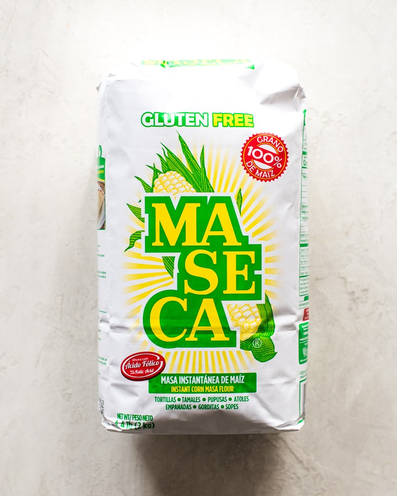 A bag of masa harina used to make tamale dough - maseca