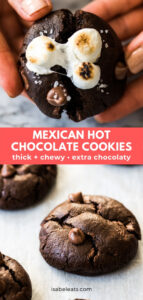 Easy Mexican Hot Chocolate Cookies that are thick, chewy and spiced with a touch of cinnamon and chili powder! Top them with mini marshmallows for extra goodness! #cookies #dessert #chocolatecookies #cookierecipes