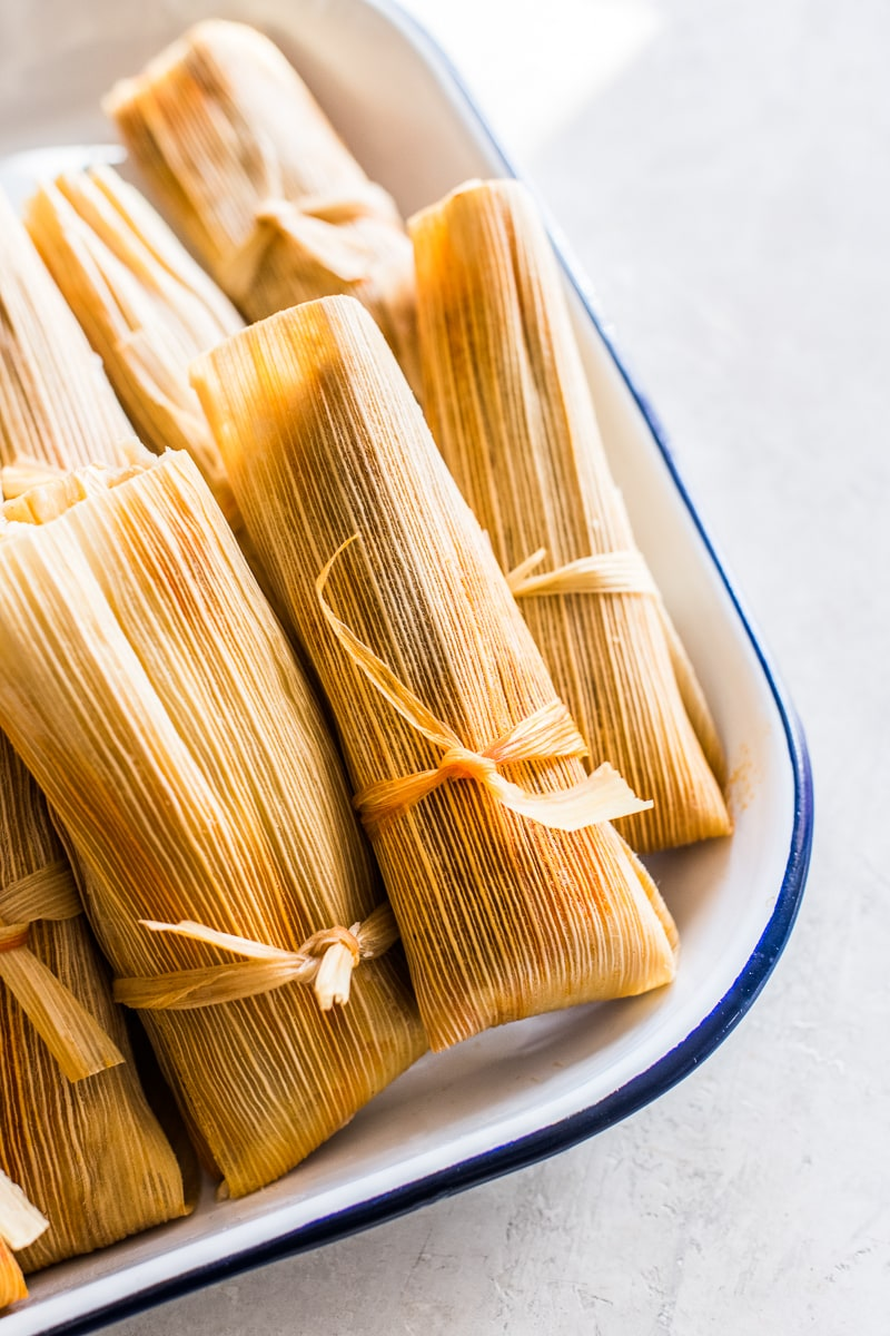 Pork tamales on a plate