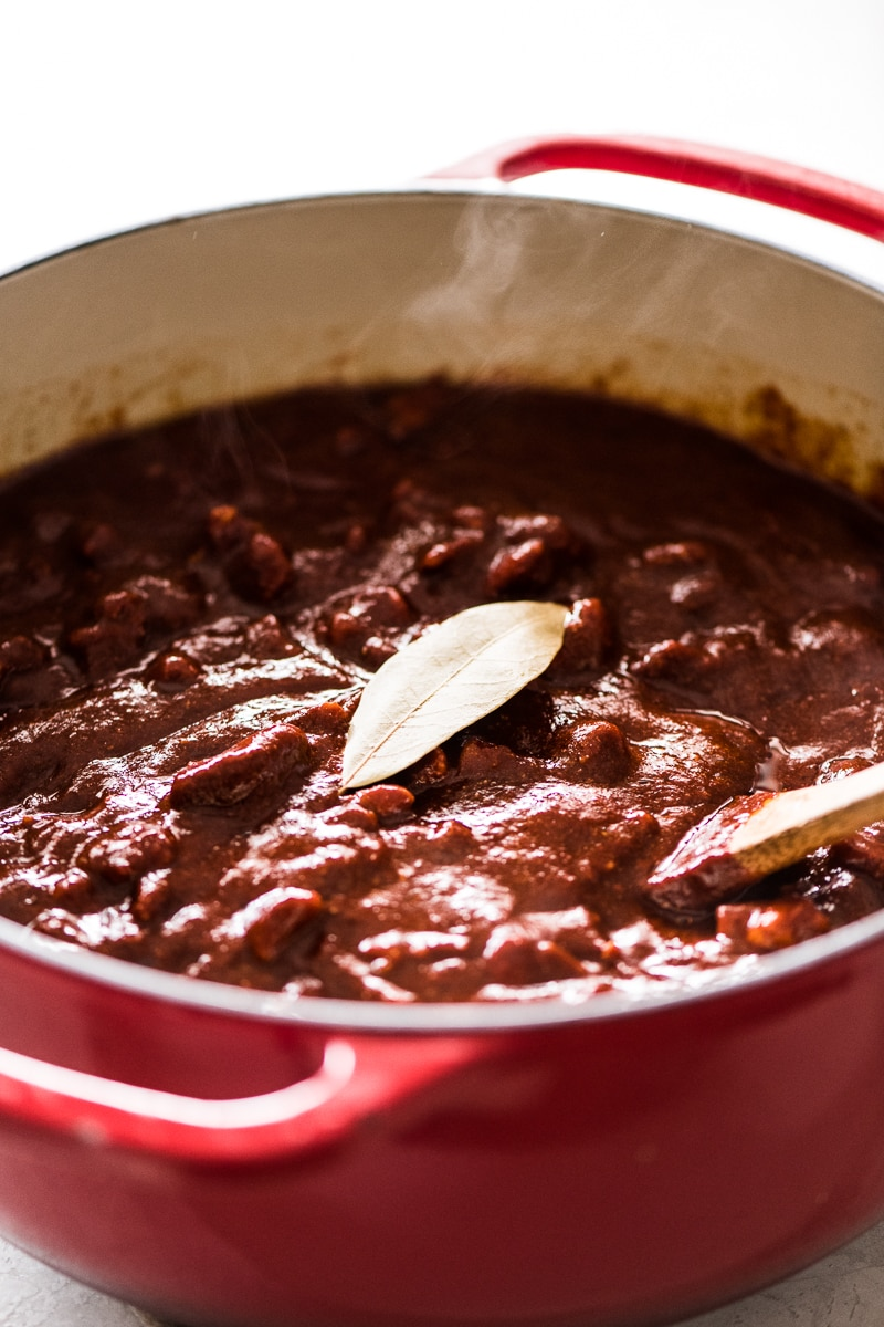 Red chile pork for tamales