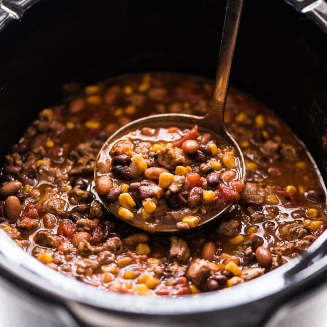 Slow Cooker Taco Soup in a crock pot