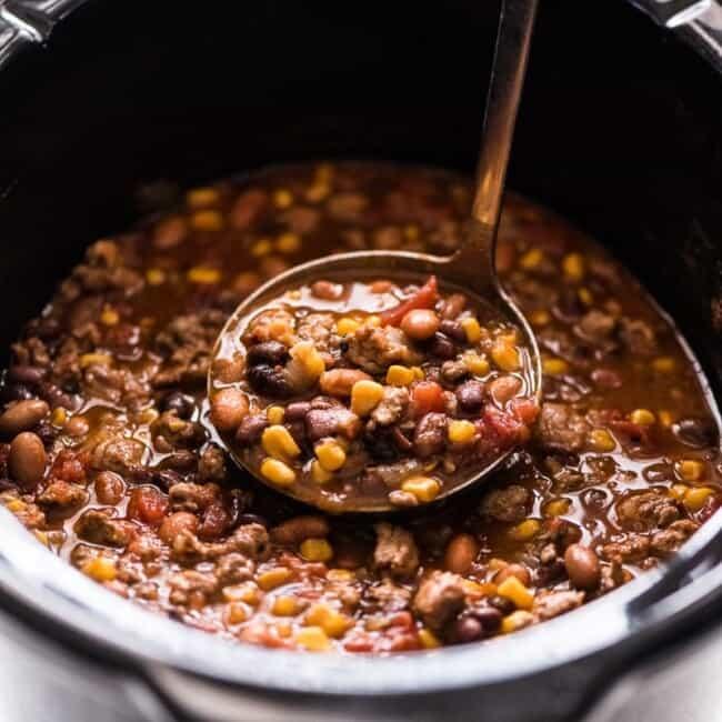 Slow Cooker Taco Soup in a crock pot