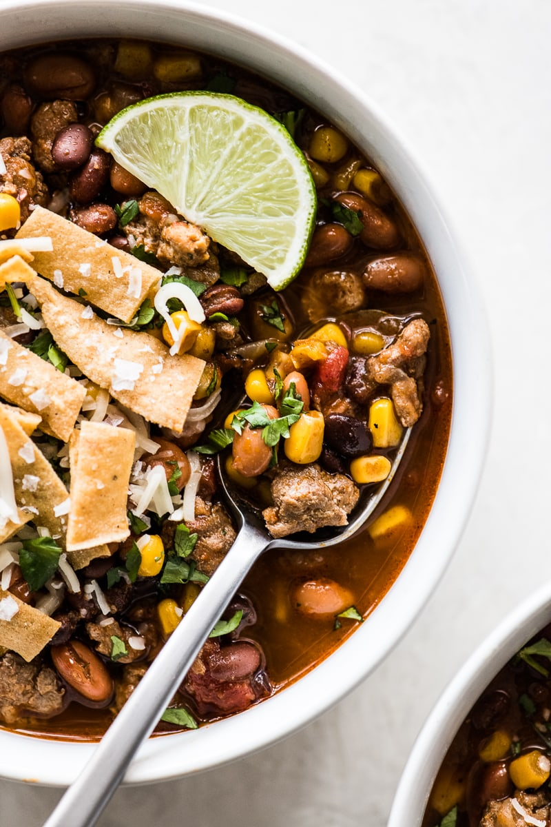 Beans, corn and tomatoes in slow cooker taco soup