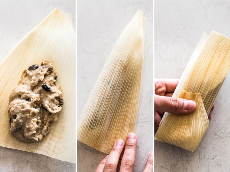 A collage of photos showing you how to assemble sweet tamales in a corn husk