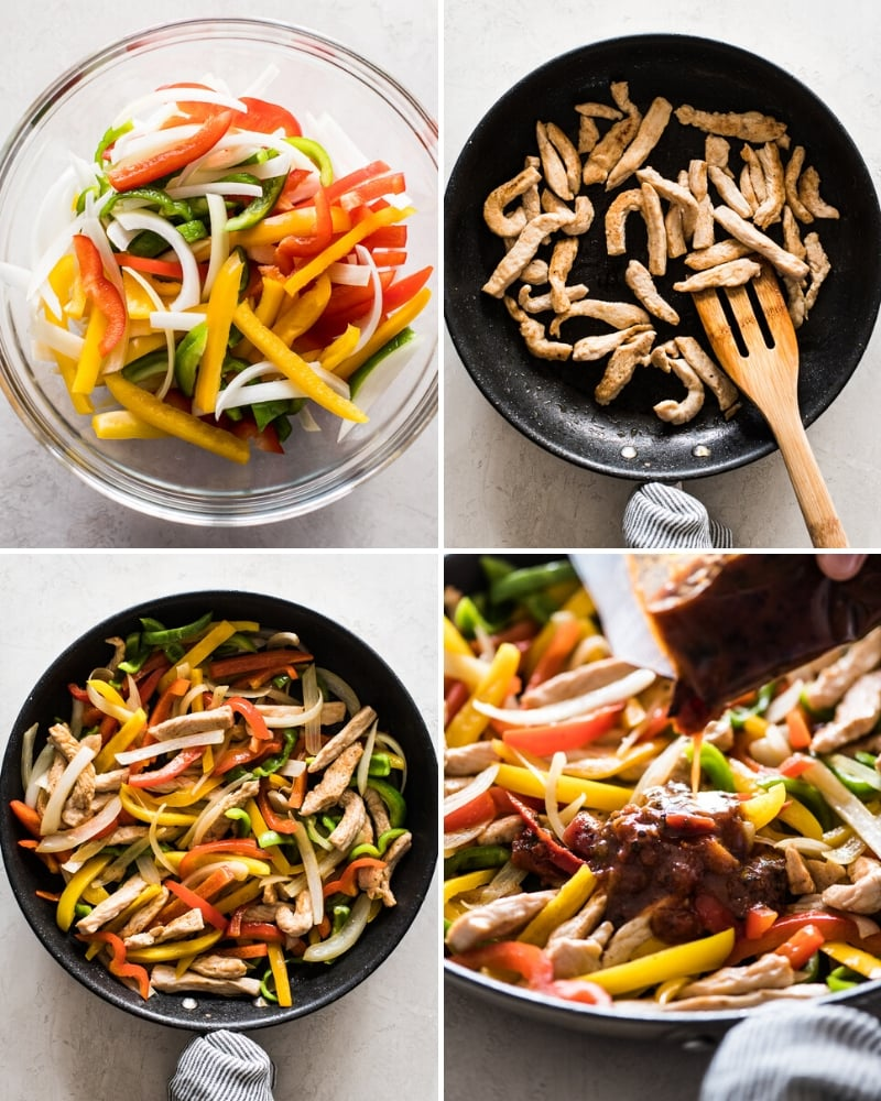 Step by step photos of how to make turkey fajitas