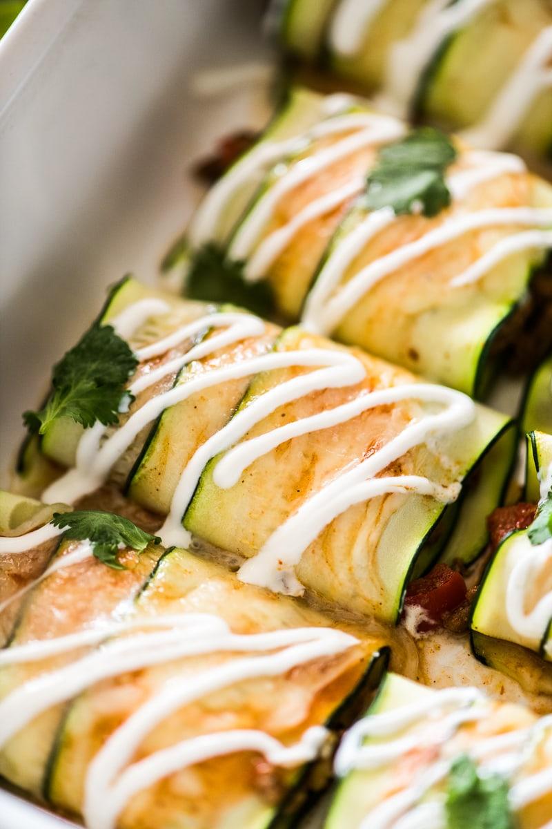 Cooked zucchini enchiladas ready to eat