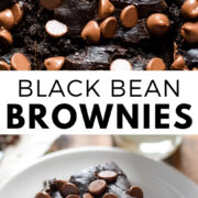 These Black Bean Brownies are easy to make, fudgy, healthy and completely flourless. All you need is a can of black beans and a blender! They're also gluten free. #brownies #chocolate #dessert #healthy