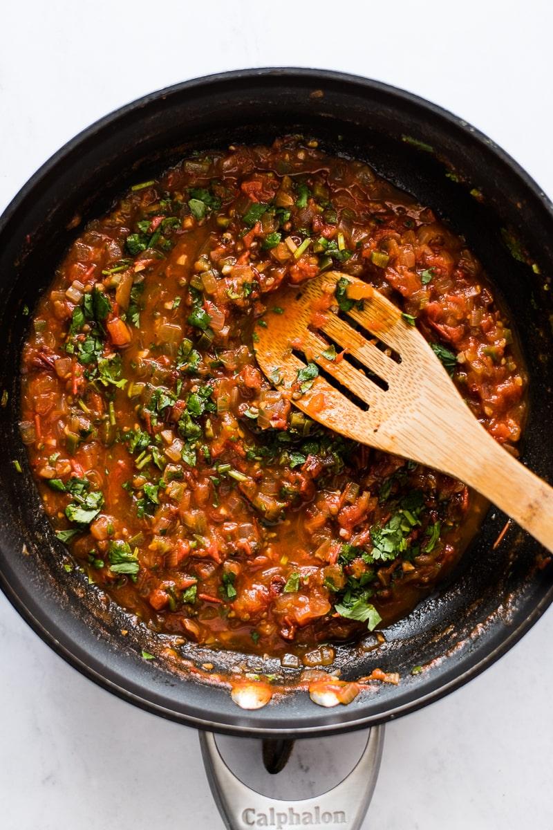 Ranchero sauce in a skillet