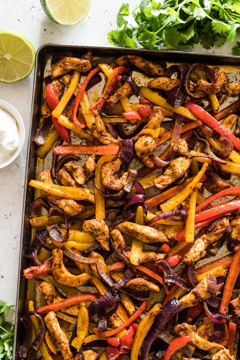 Sheet pan chicken fajitas ready to eat