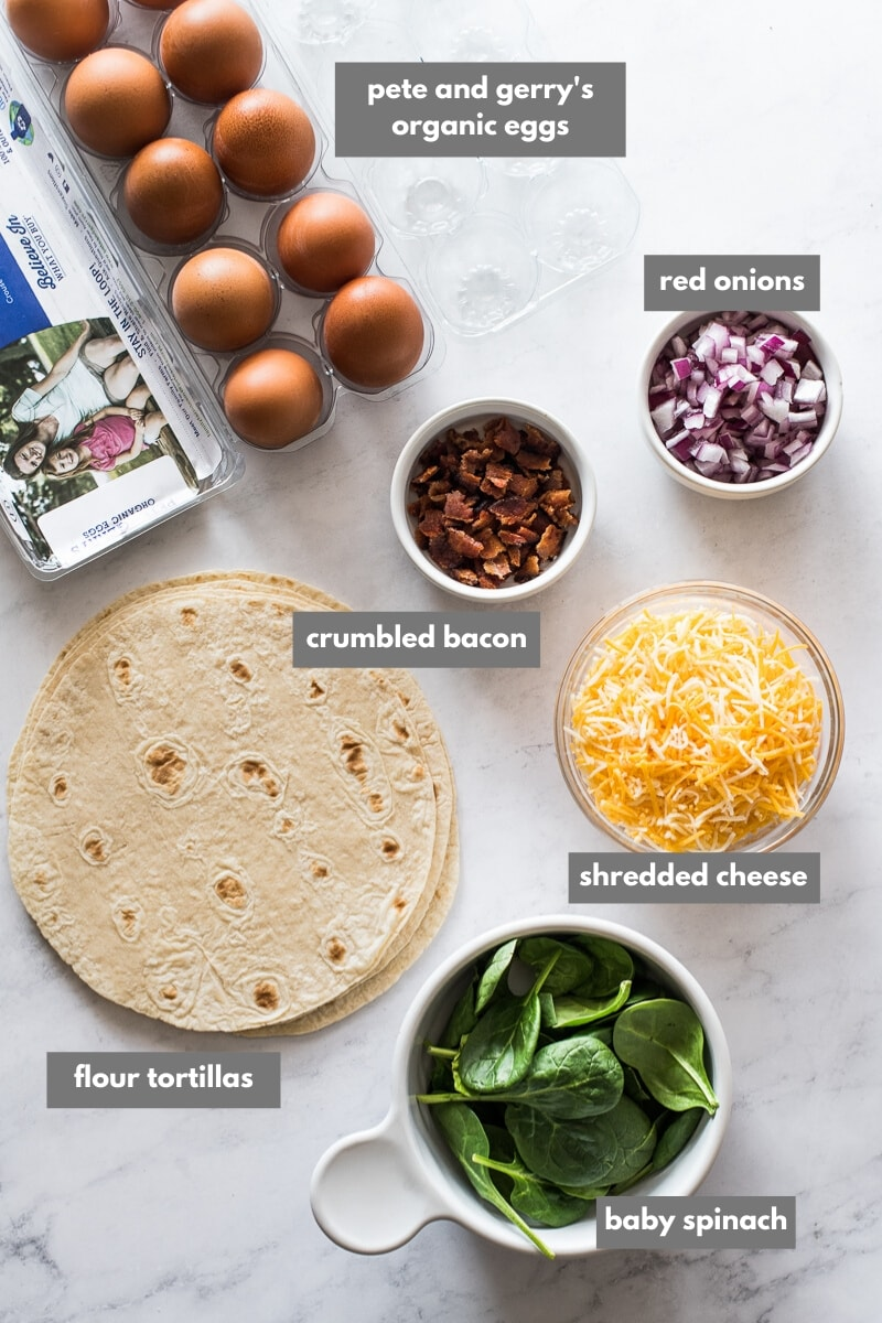 Ingredients in breakfast quesadillas