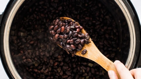 Cooked black beans in an Instant Pot