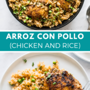 Easy Arroz con Pollo made with chicken thighs, long-grain white rice, Mexican seasonings and green peas! This classic Latin American chicken and rice dish is a family favorite that you'll make over and over for years to come.