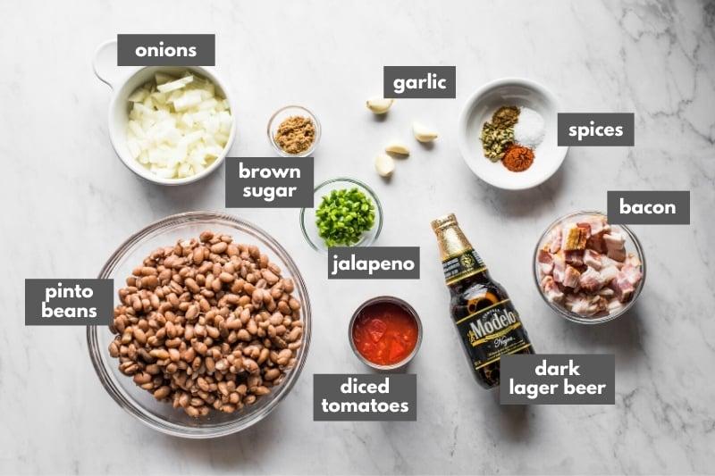 Ingredients for borracho beans