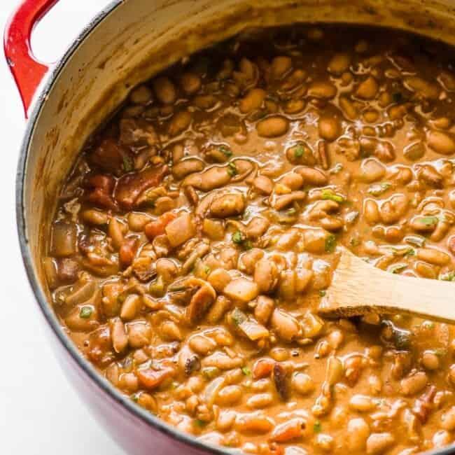 A pot of borracho beans (frijoles borrachos) ready to be served