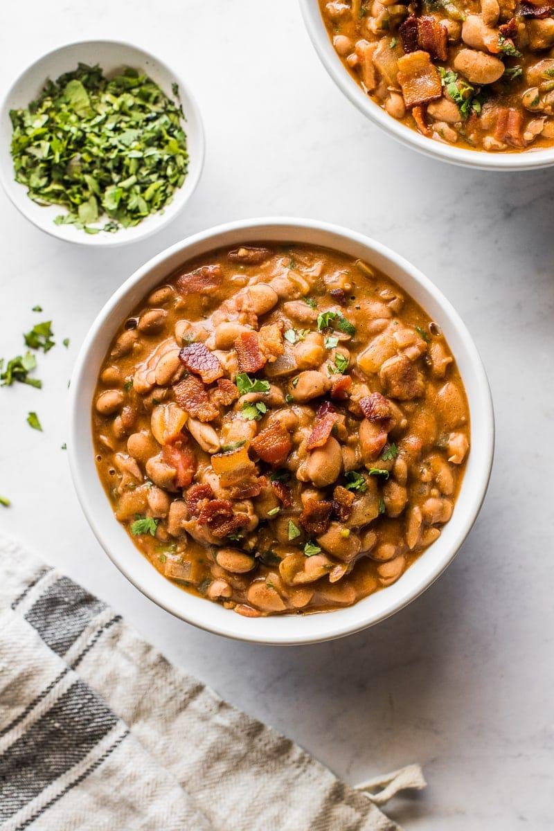 A bowl of borracho beans
