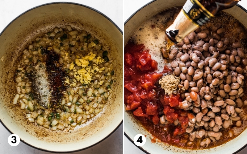 Spices, pinto beans, tomatoes and beer in a pot for borracho beans