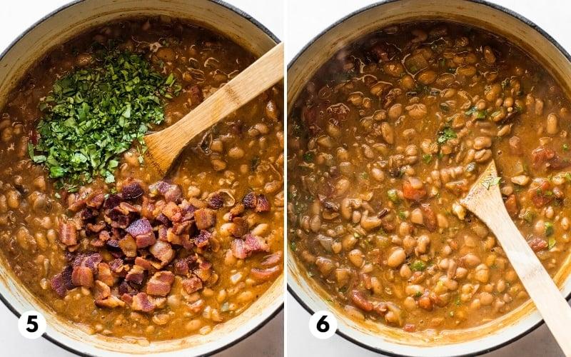 A pot of borracho beans with bacon and cilantro