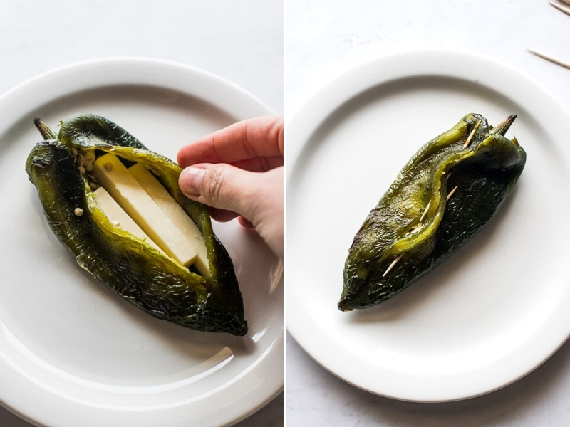 A roasted poblano pepper stuffed with cheese.