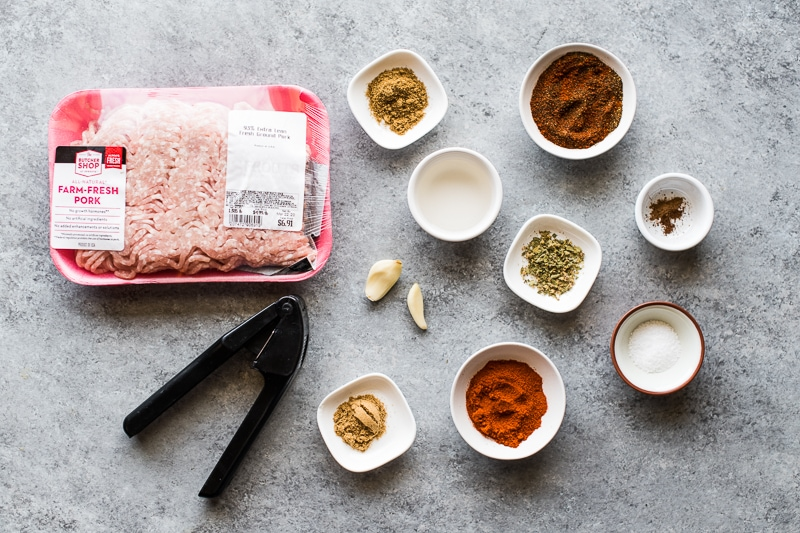 Ingredients needed to make Mexican chorizo recipe.