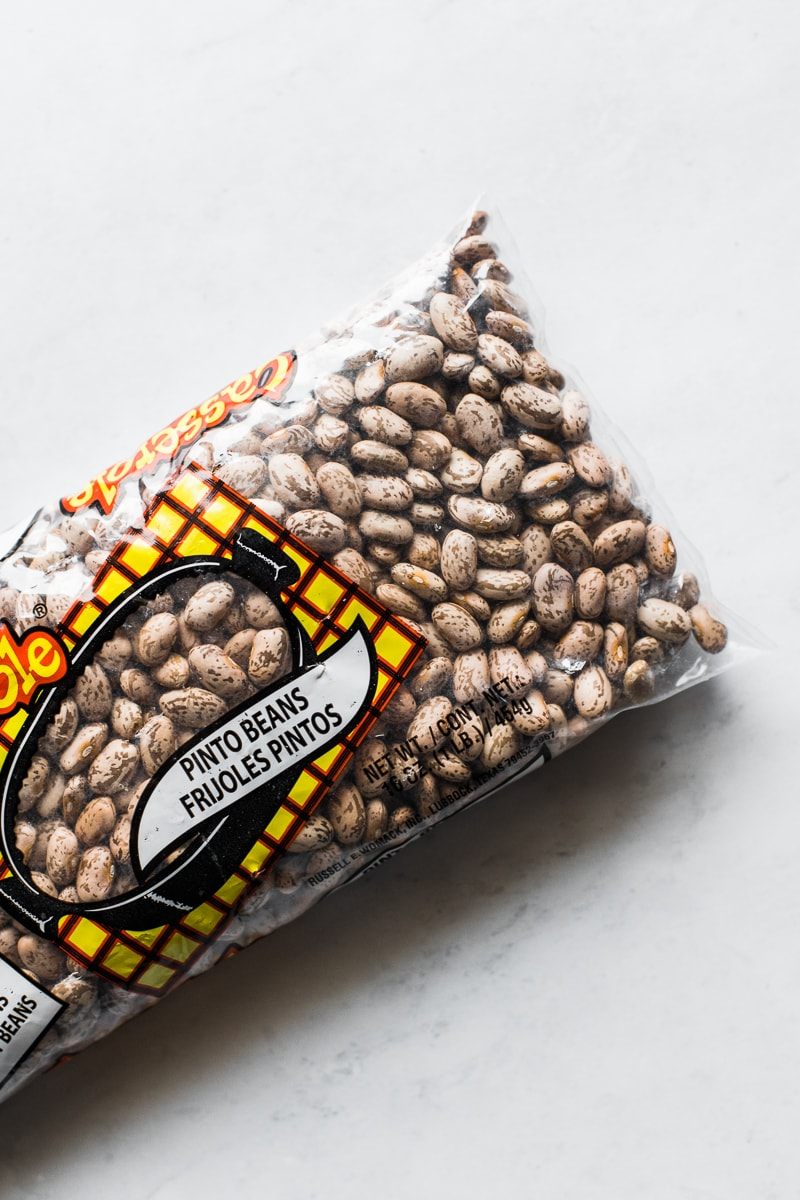 A bag of dried pinto beans