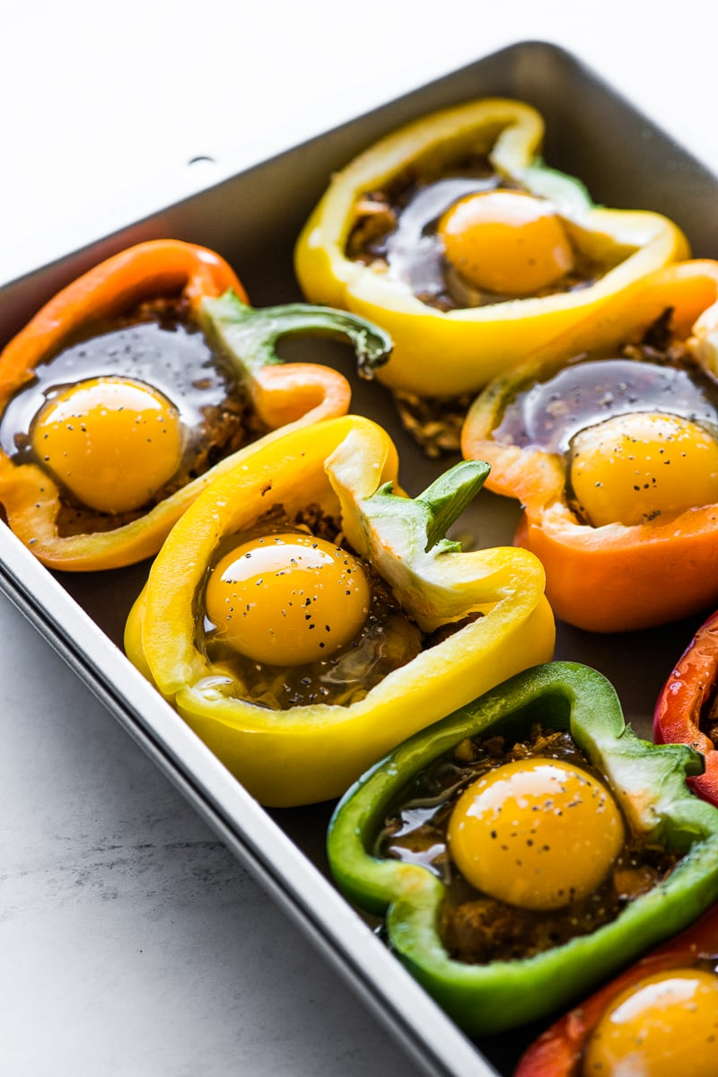Eggs in bell peppers for breakfast stuffed peppers.