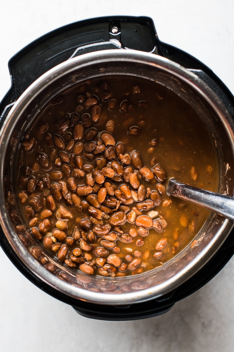 Cooked pinto beans in an Instant Pot