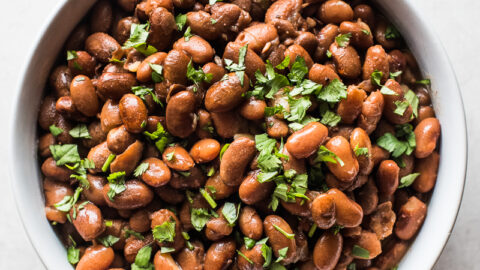 Cooked instant pot pinto beans in a bowl