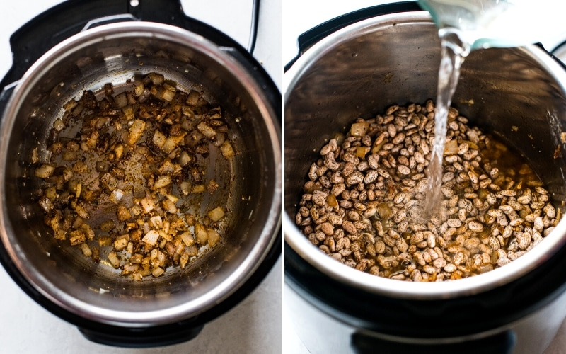 Step by step photos of how to make pinto beans in the Instant Pot.