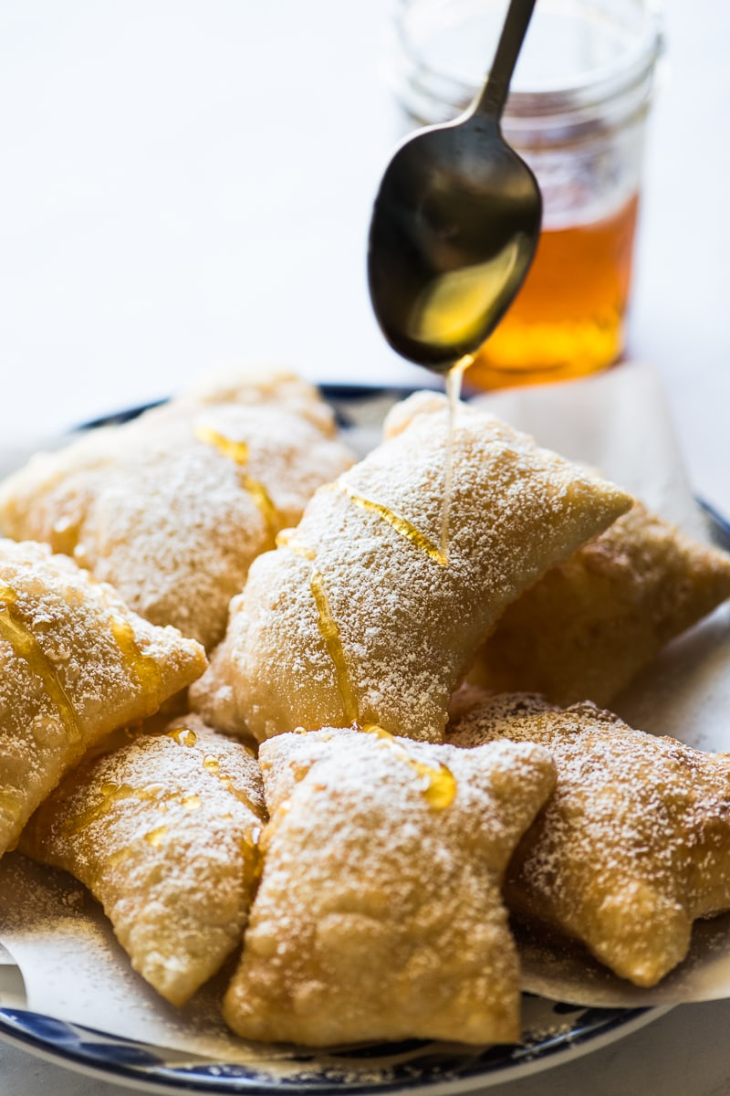 Honey drizzling on top of sopapillas.