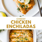 Easy chicken enchiladas on a plate.