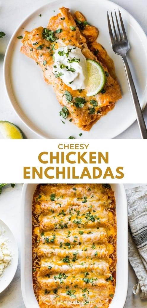 Enchiladas de pollo fáciles en un plato.