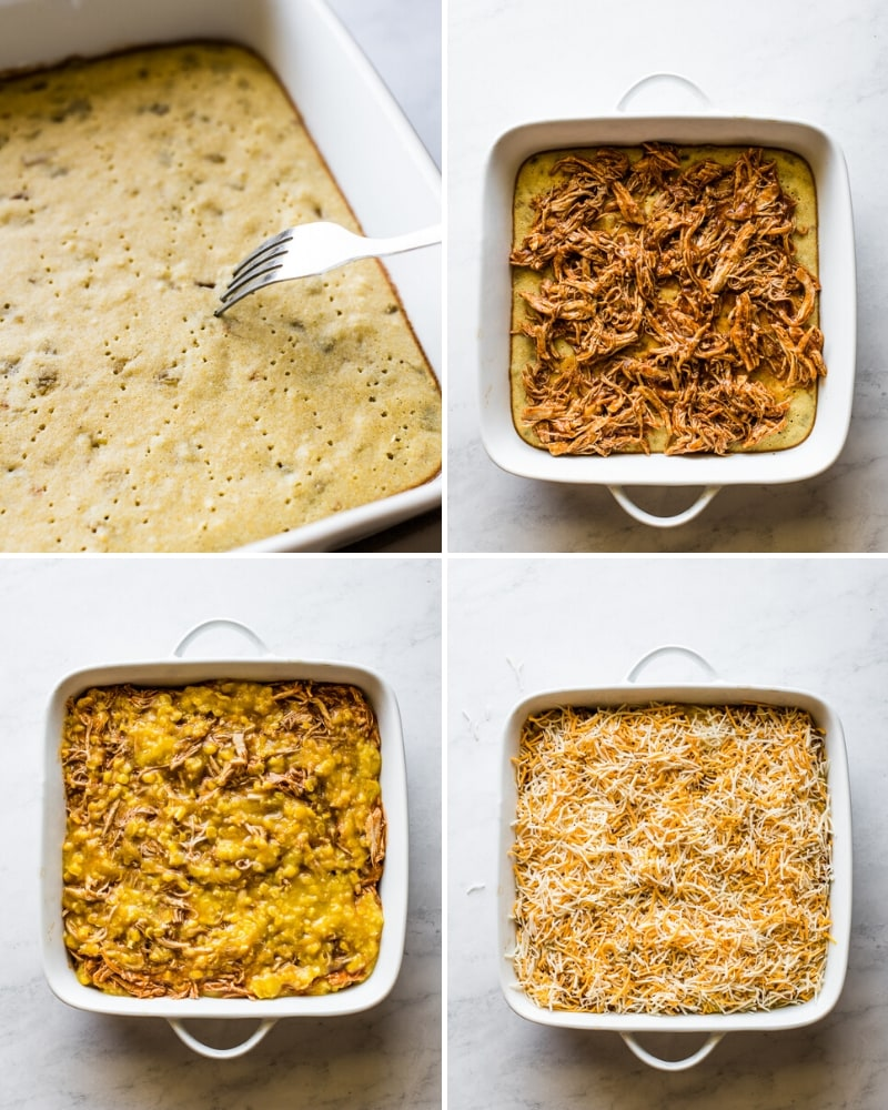 4 step by step photos of making chicken tamale casserole