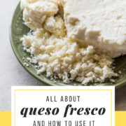 Crumbled queso fresco on a plate.