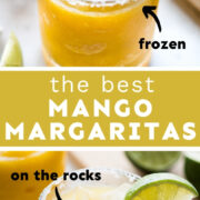 A frozen mango margarita and a mango margarita on the rocks