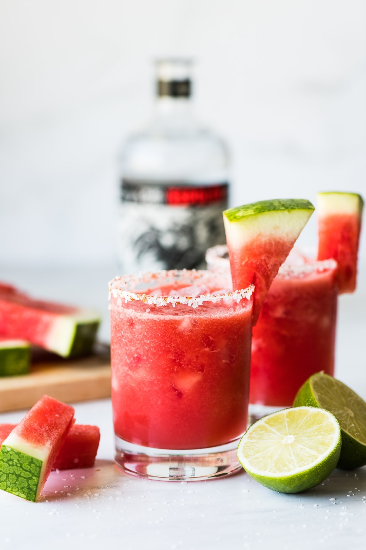 Watermelon Margarita served on the rocks and frozen