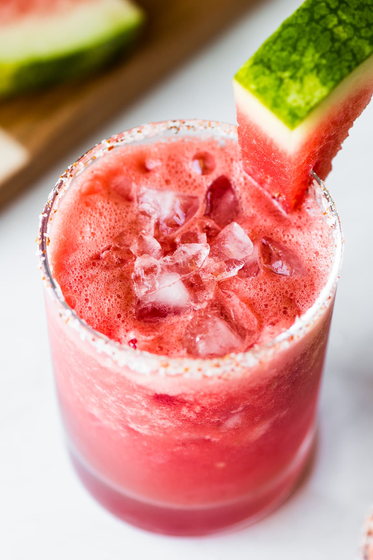A watermelon margarita served over ice
