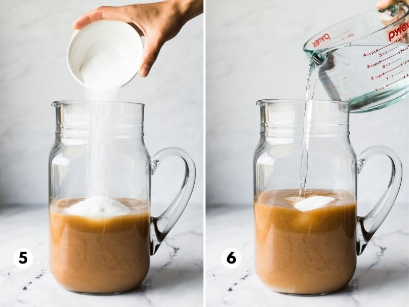 Mixing together tamarindo drink ingredients