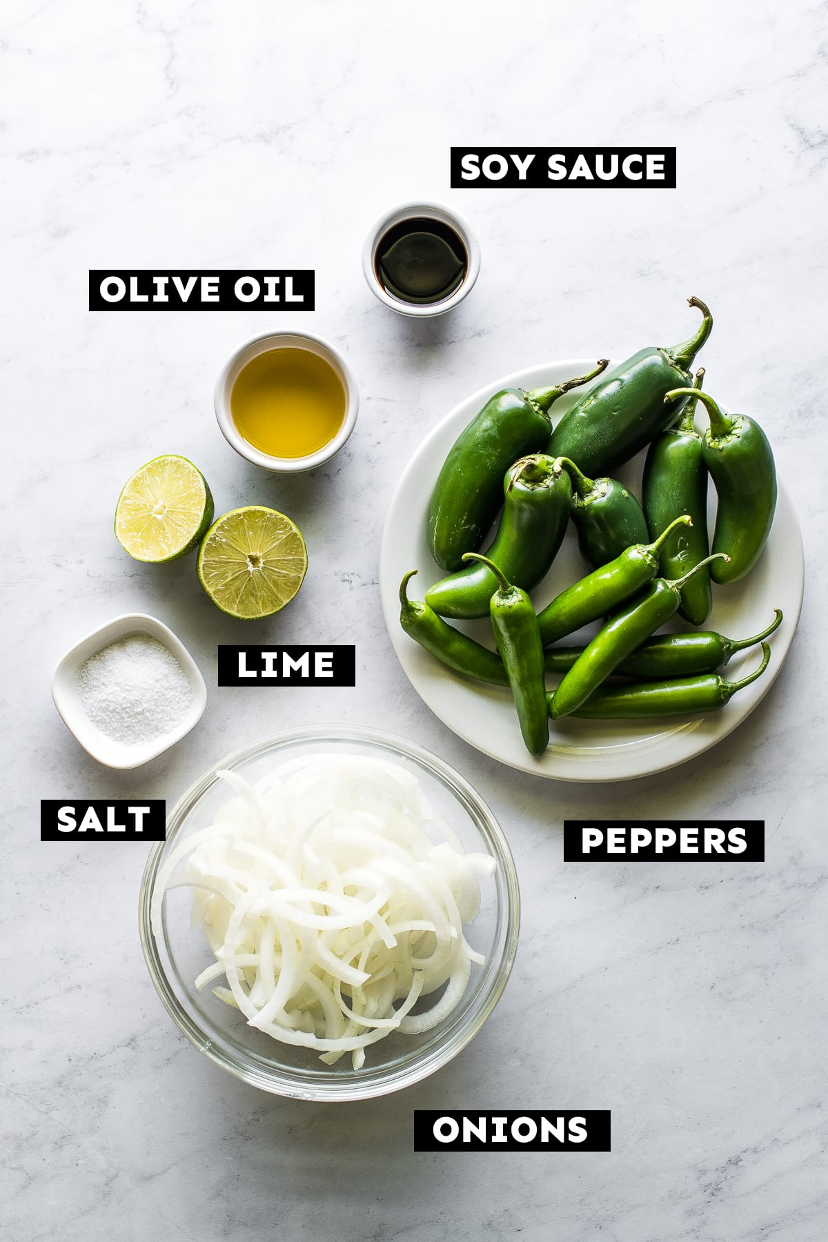 Ingredients in chiles toreados