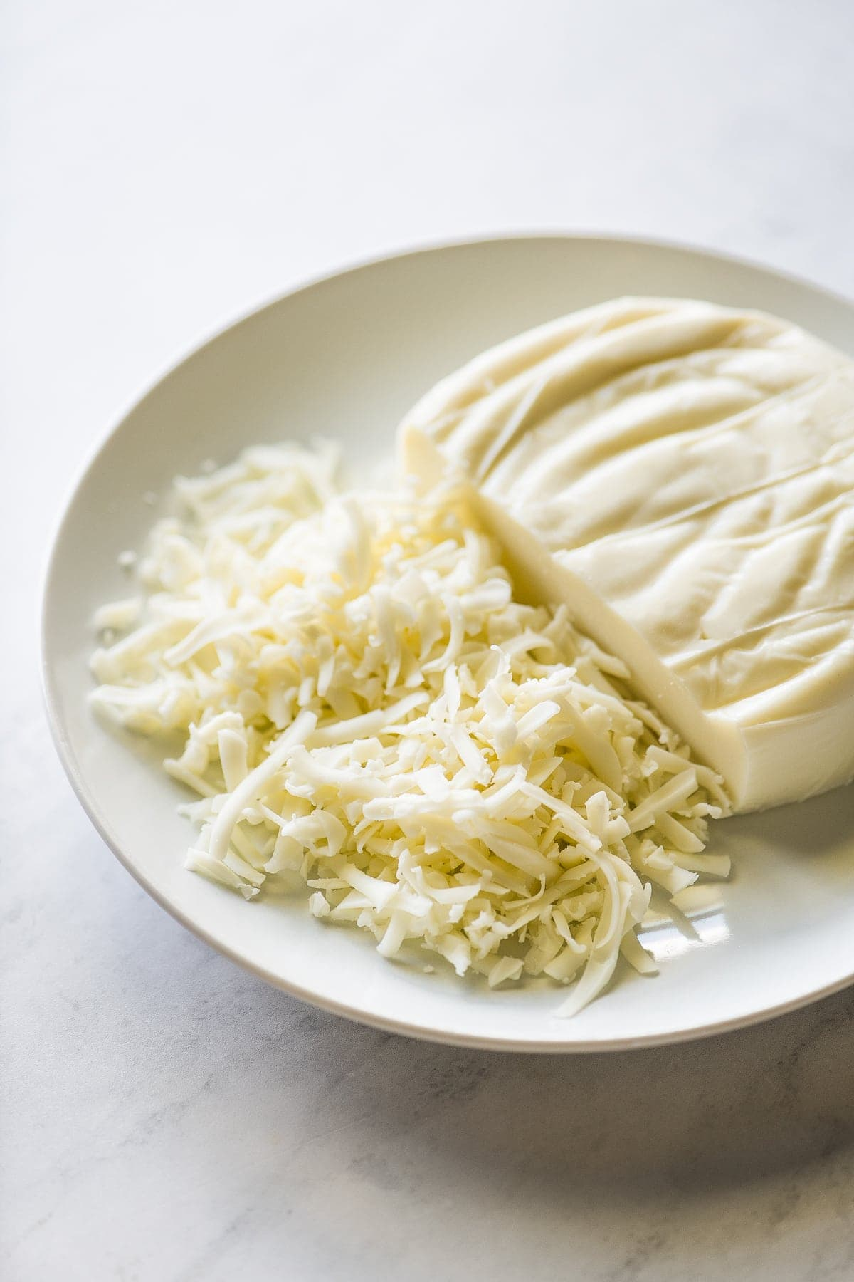 Oaxaca cheese on plate.