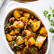 Papas con Chorizo is an easy Mexican chorizo and potatoes dish that's best served with fresh tortillas and topped with cilantro. Great for breakfast, lunch, and dinner, it's ready in only 30 minutes!