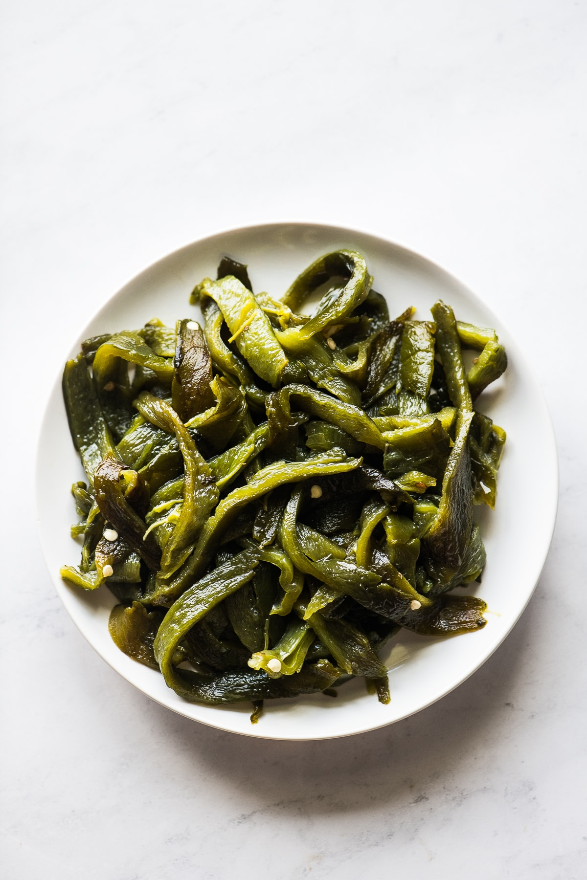 Sliced poblano pepper strips.