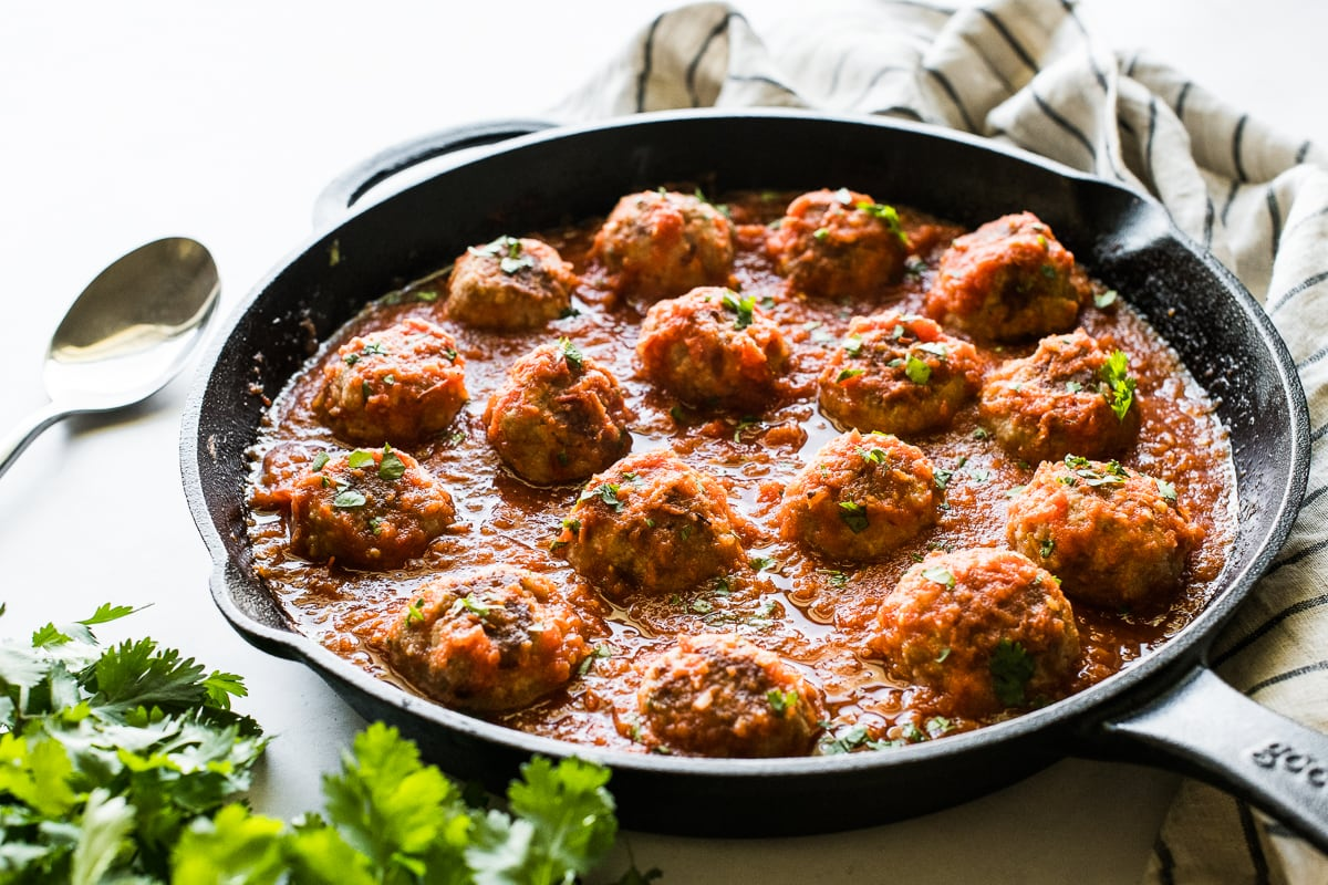 Mexican pork meatballs in a skillet ready to be eaten.