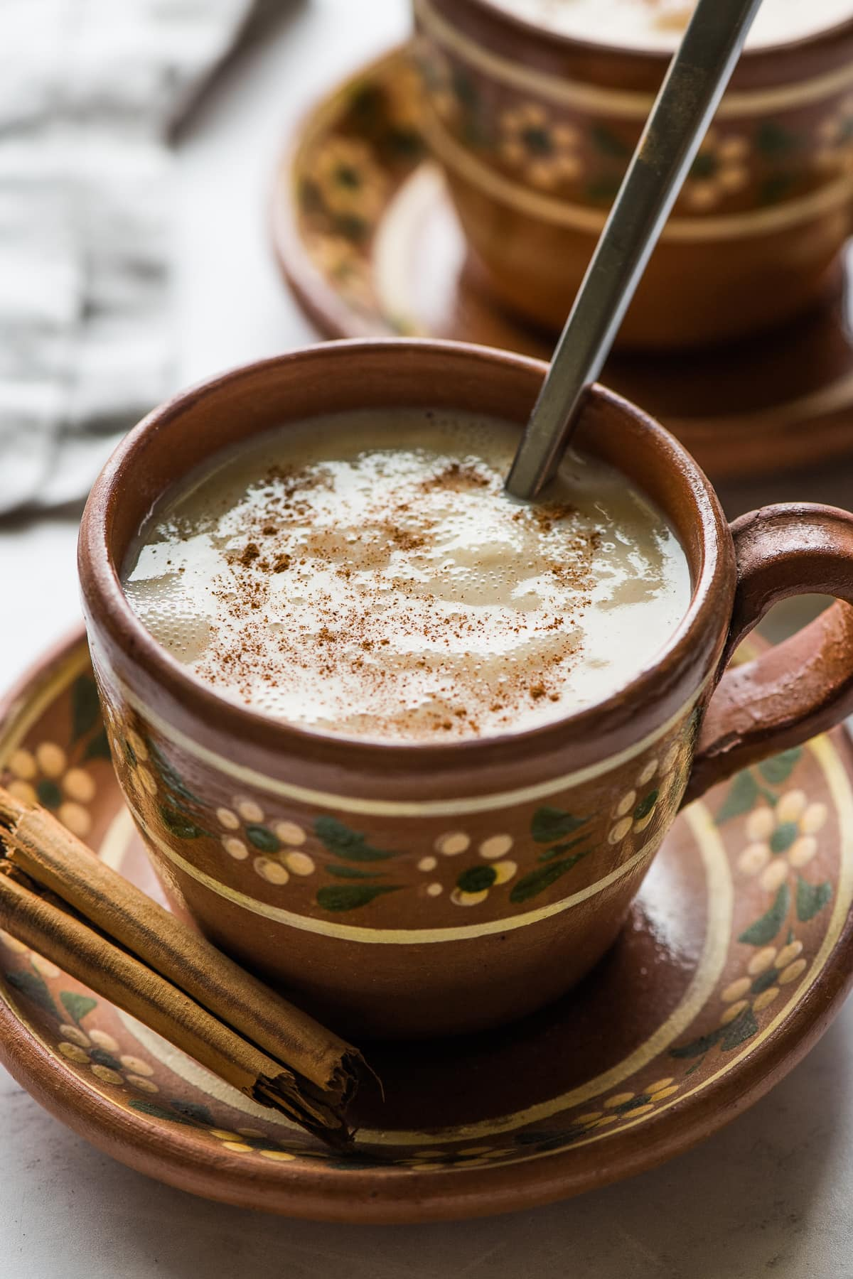 Atole in a mug ready to drink.