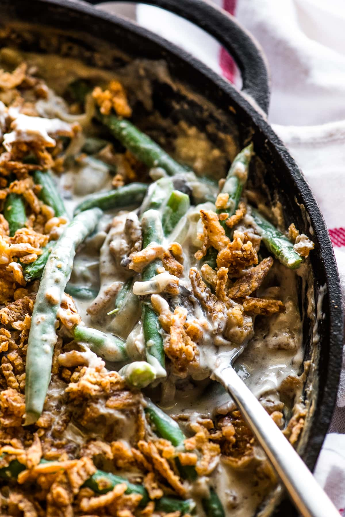 Creamy green bean casserole made from scratch.