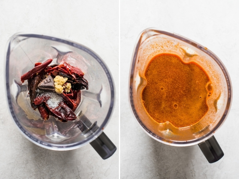 The red chile sauce in a blender for posole.