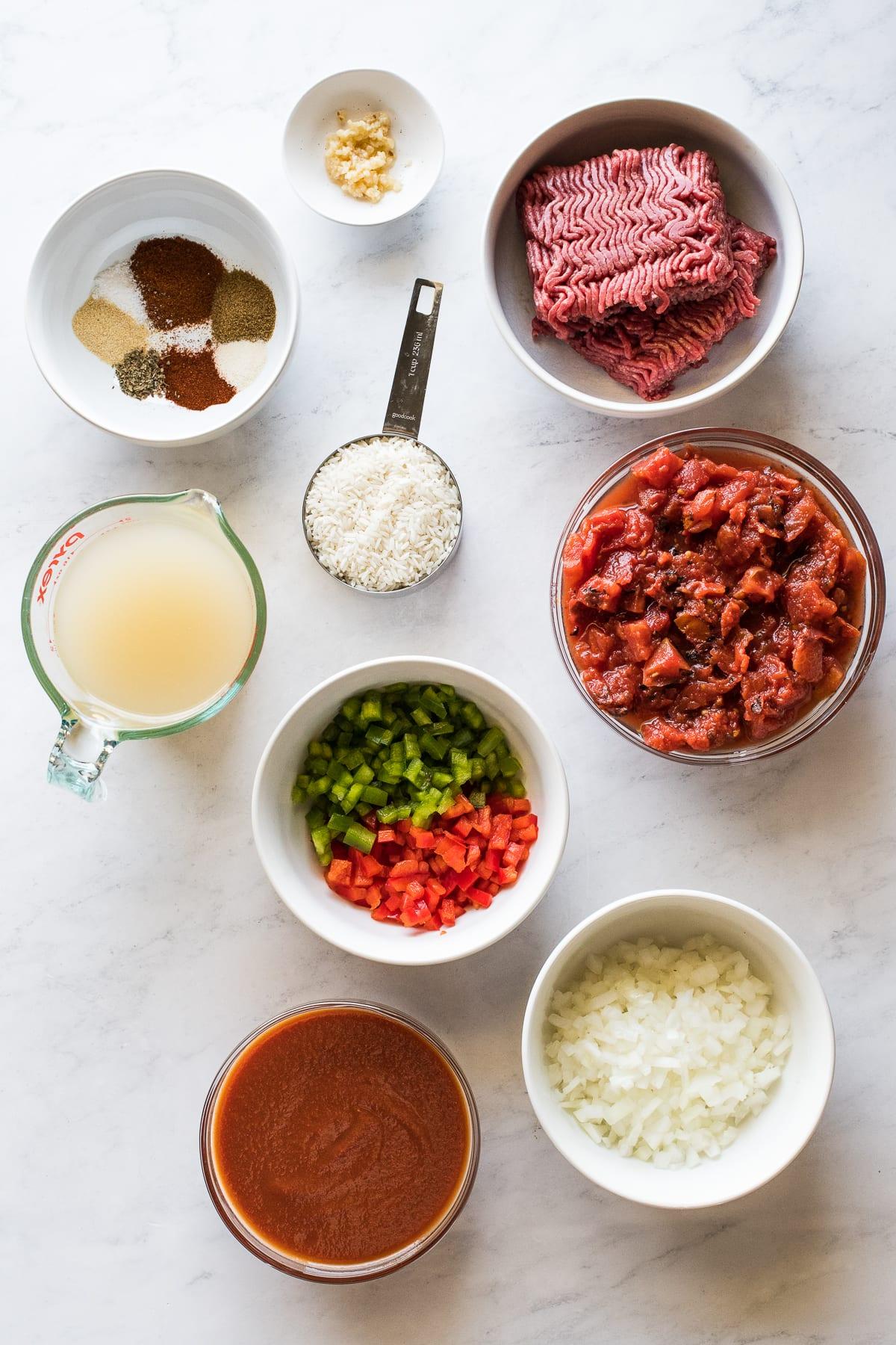 Ingredients in stuffed pepper soup