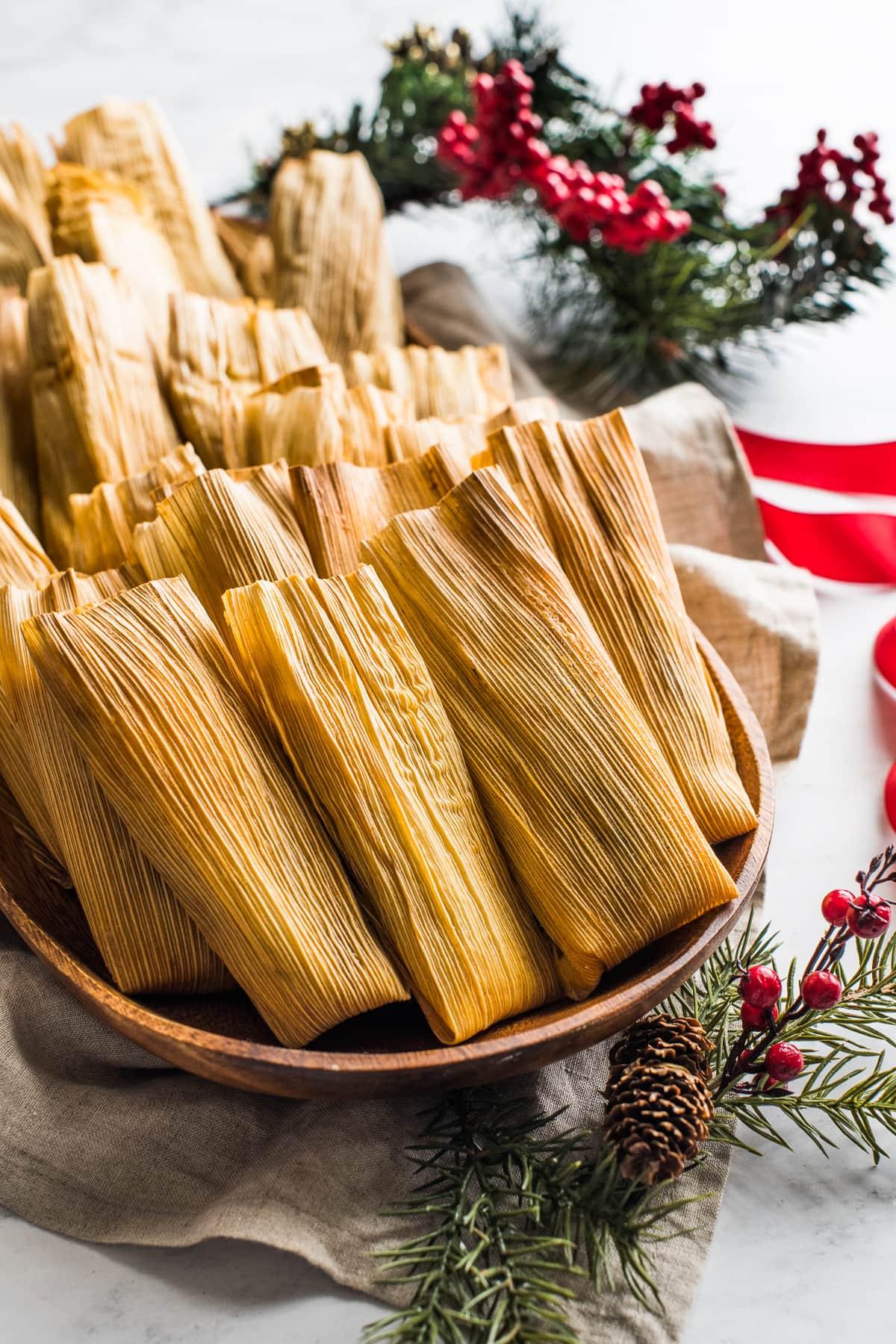 Instant Pot Tamales on a serving platter.