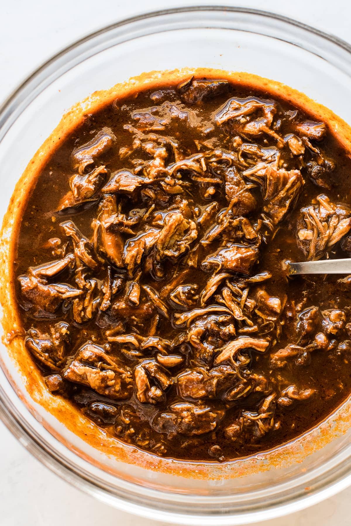 Pork in red chile sauce for Instant Pot Pork Tamales